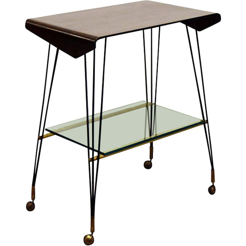 Vintage curved plywood side table with casters 1960