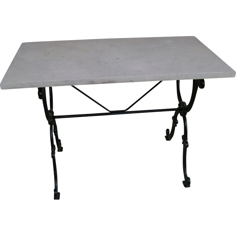 Vintage Bistrot table with cast iron leg and travertine top