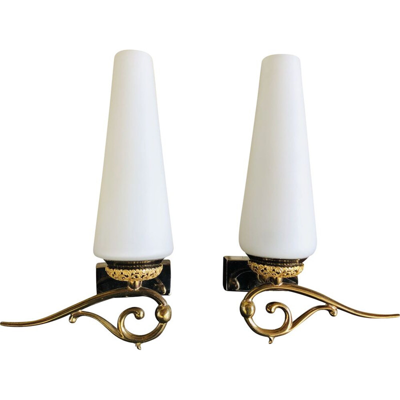 Pair of vintage opaline and brass sconces 1950