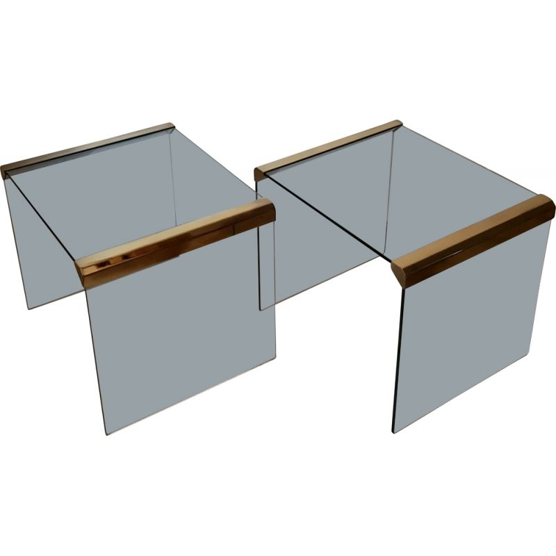 Pair of vintage glass side tables by Leon Rosen, USA 1970