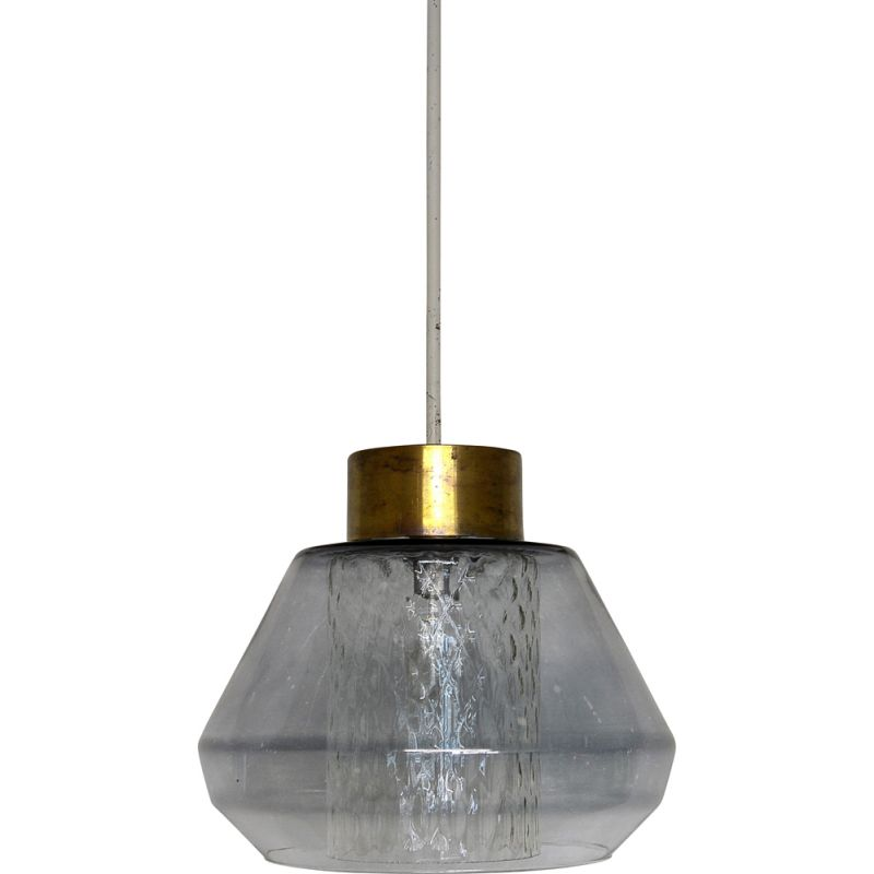 Vintage stained glass and brass pendant lamp, France 1960