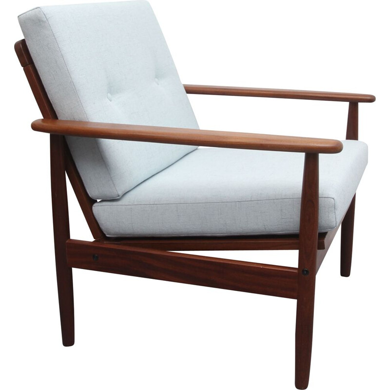 Vintage  armchair Grey-blue teak 1960s