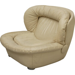 Airborne armchair in white leather - 1960s