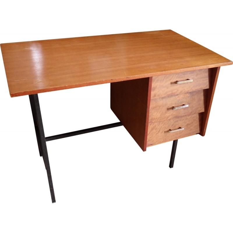 Mid Century Wooden Desk In Black Lacquered Metal 1950s Design Market