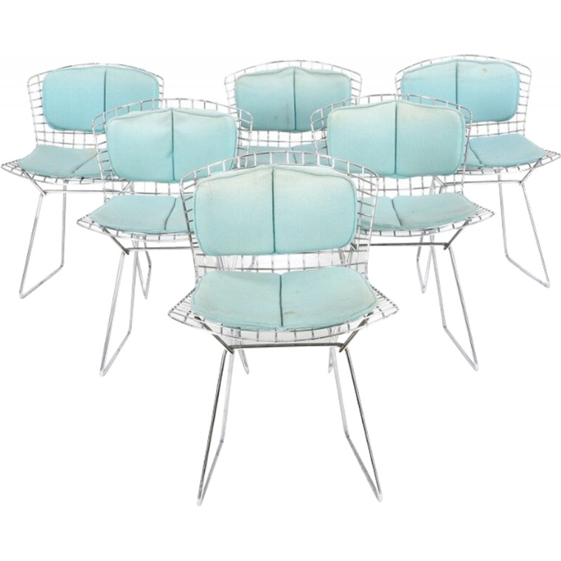 Set of 6 Knoll chairs in steel and light blue fabric, Harry BERTOIA ...