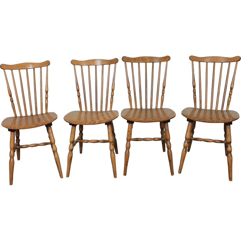 Set of 4 vintage chairs by Baumann, France 1960