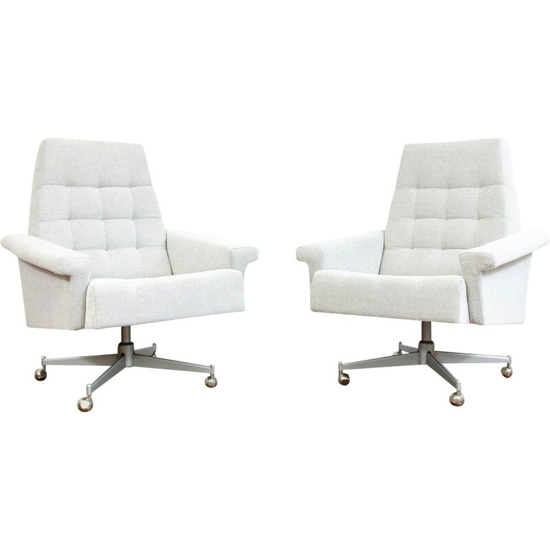 Pair of vintage swivel armchairs, Czechoslovakia 1970