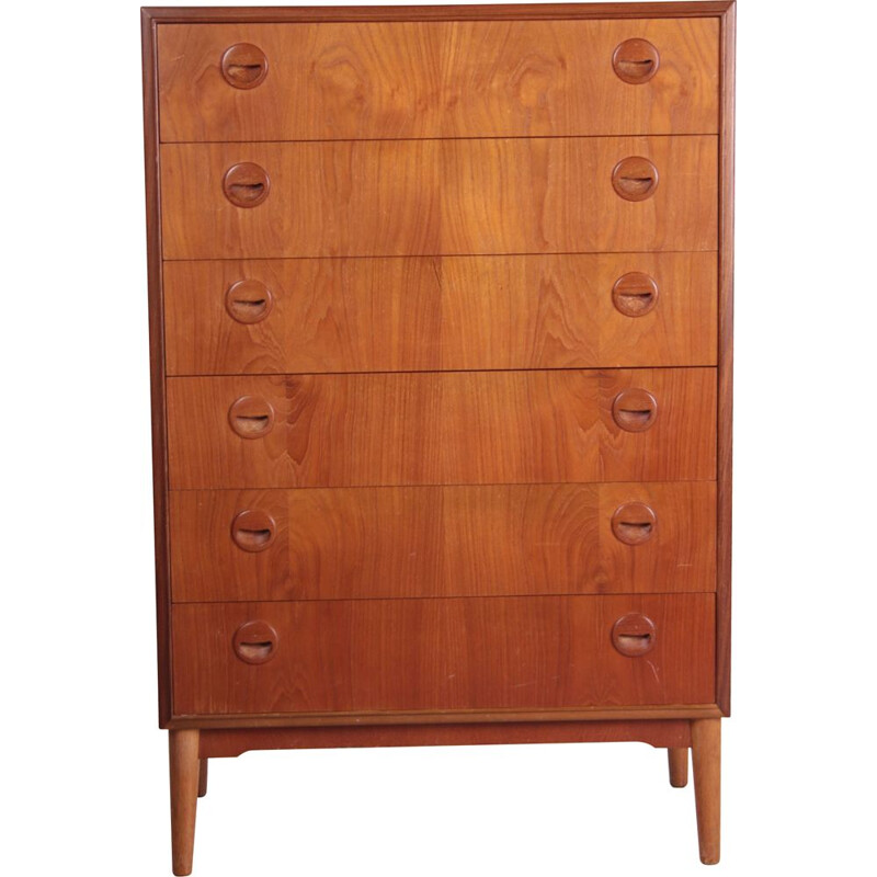Vintage chest of drawers with 6 drawers and round handles, Denmark 1960