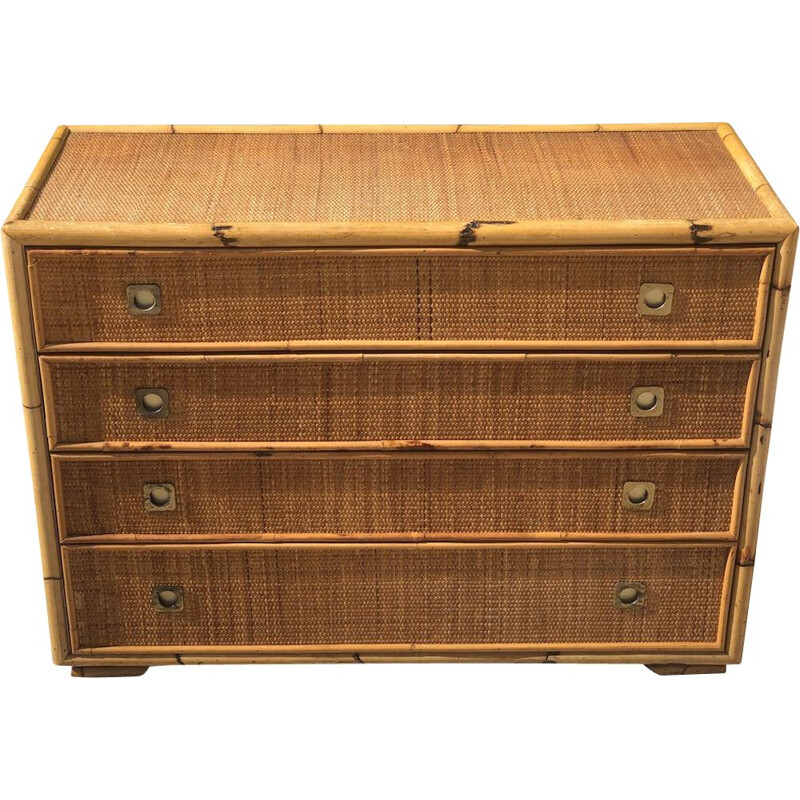Vintage bamboo and wicker chest of drawers by Dal Vera 1970s