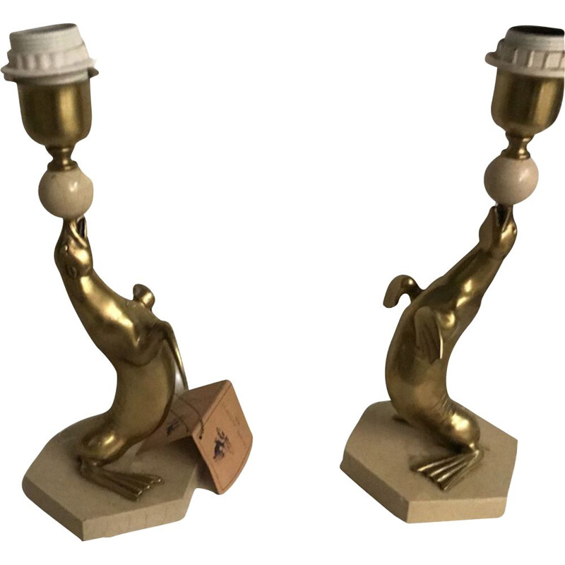 Pair of vintage table lamps by Leone Aliotti for Alliotti 1980s