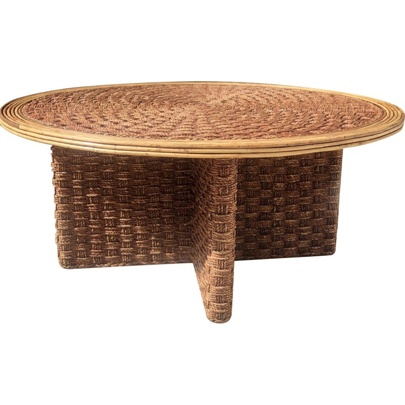 Vintage coffee table in woven rope and rattan 1970s