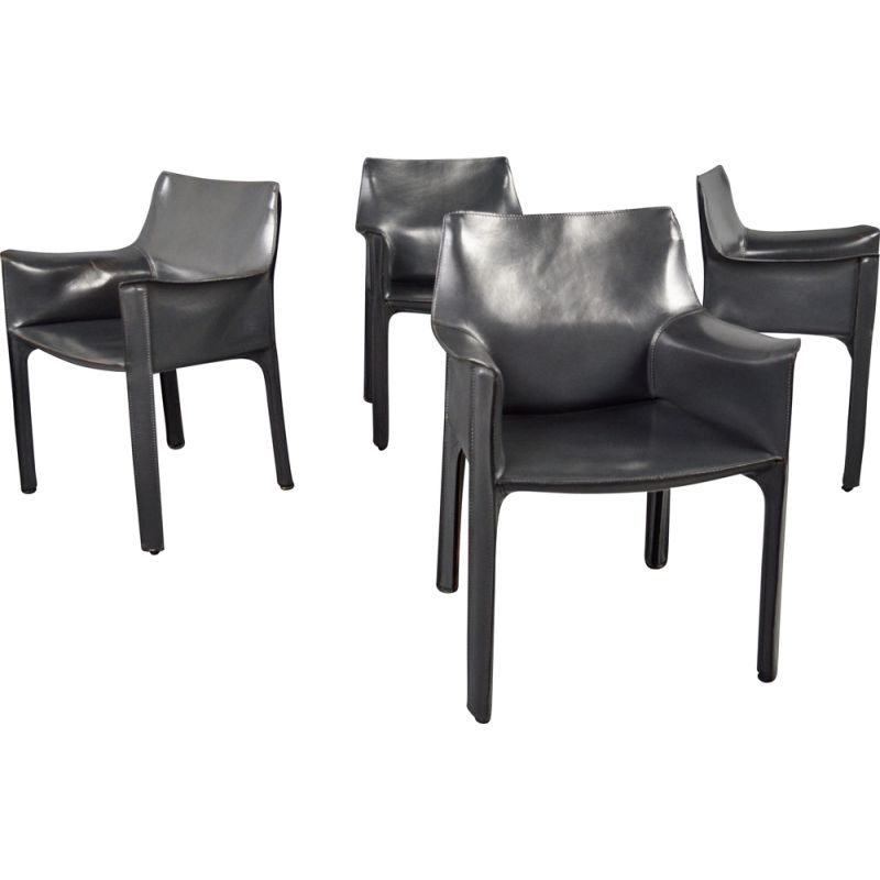 Set of 4 vintage dark grey leather chairs by Mario Bellini 1977s