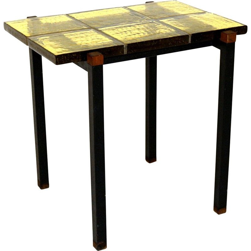 Glass and teak side table Sweden 1960