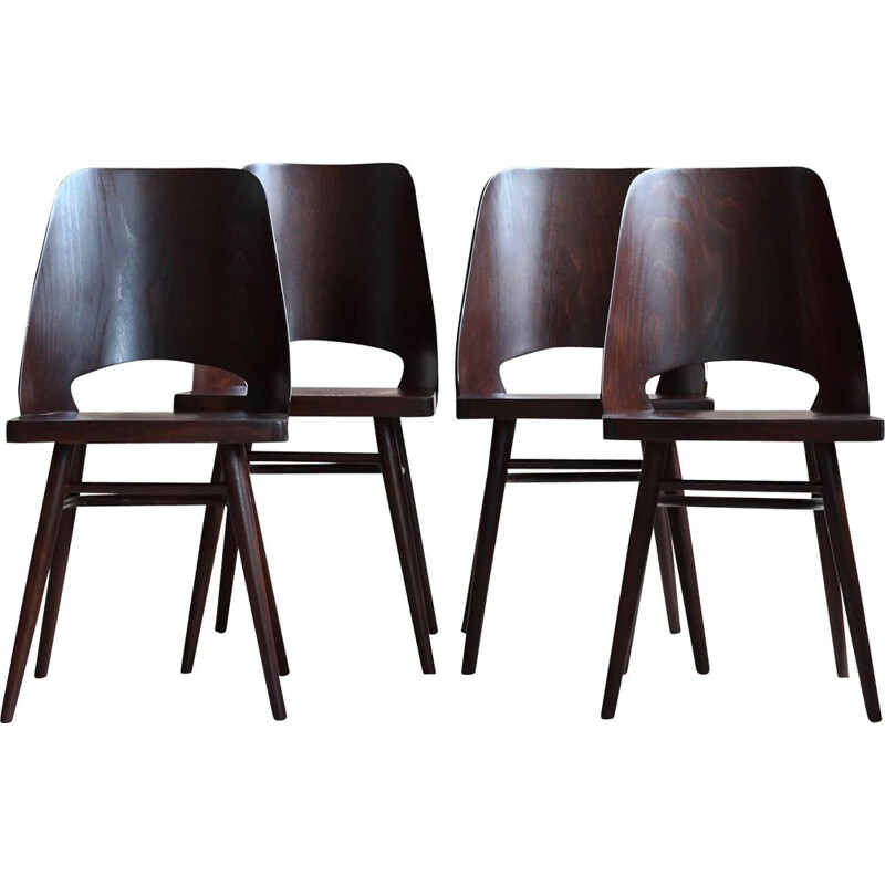 Set of 4 vintage chairs by Radomir Hofman for TON