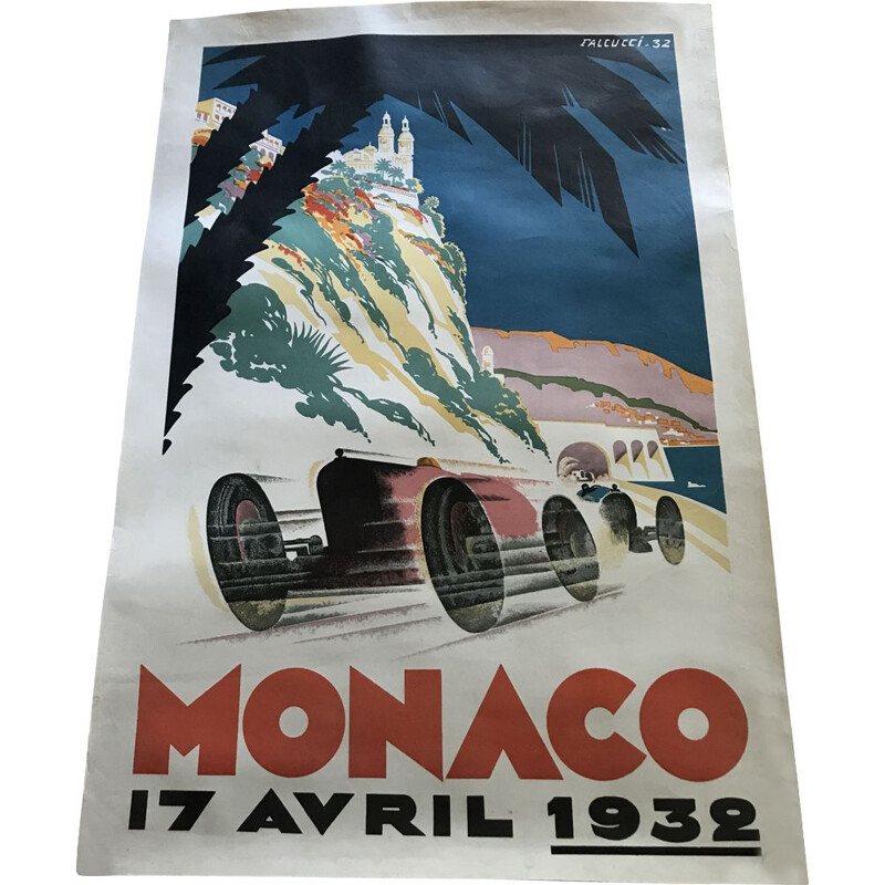 Vintage poster of the Monaco Grand Prix 1932s