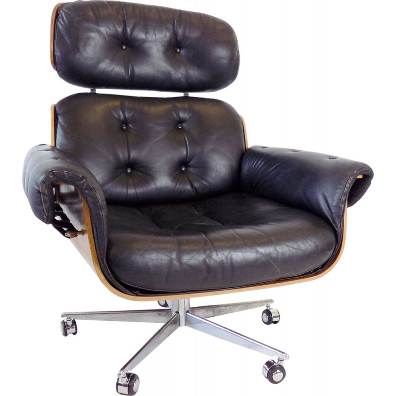 Vintage black leather armchair by Martin Stoll 1960
