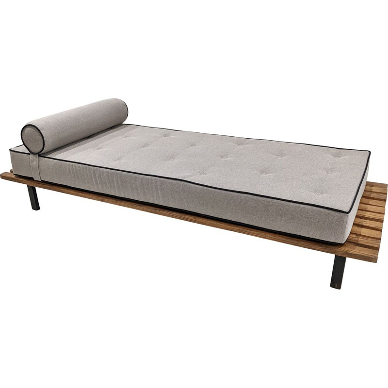 Vintage Cansado bench with mattress and cushion by Charlotte Perriand 1954s
