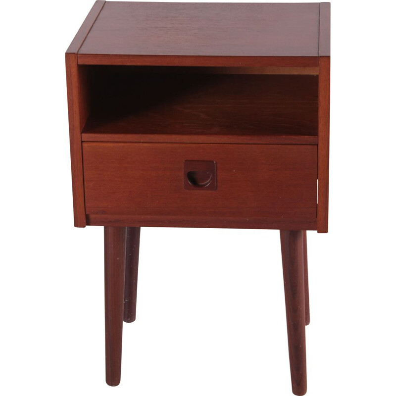 Vintage bedside table with one drawer and slim legs 1960s