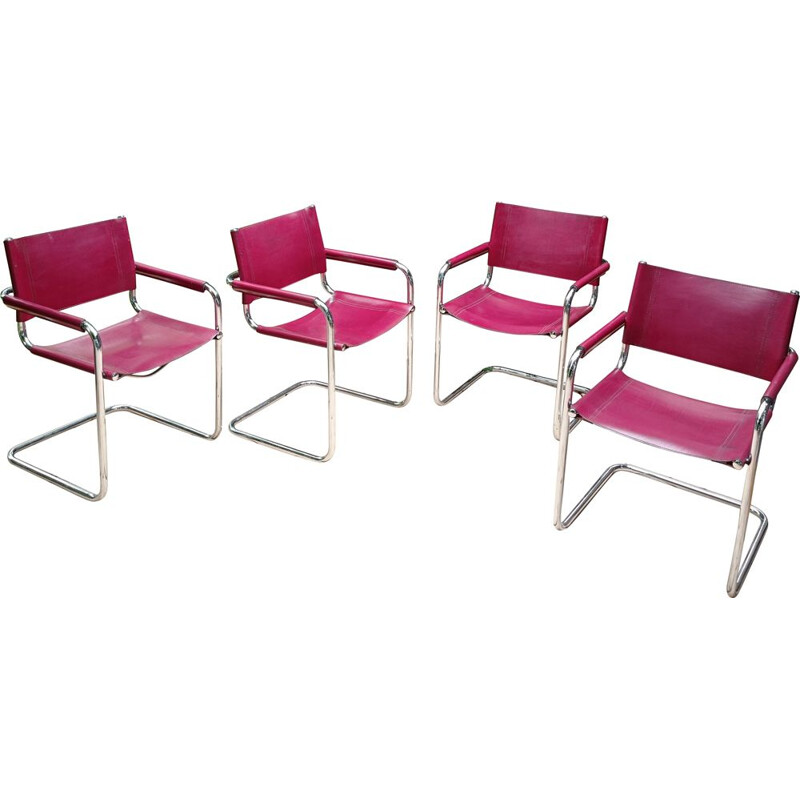 Set of 4 vintage armchairs by Marcel Breuer 1980s
