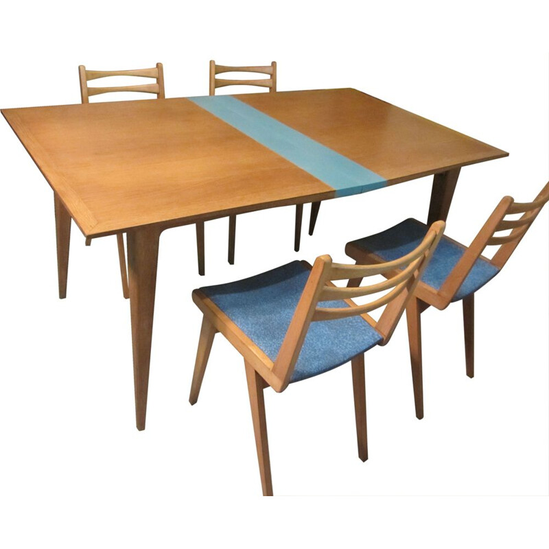 Set of 4 chairs and a table in blond wood 1960s