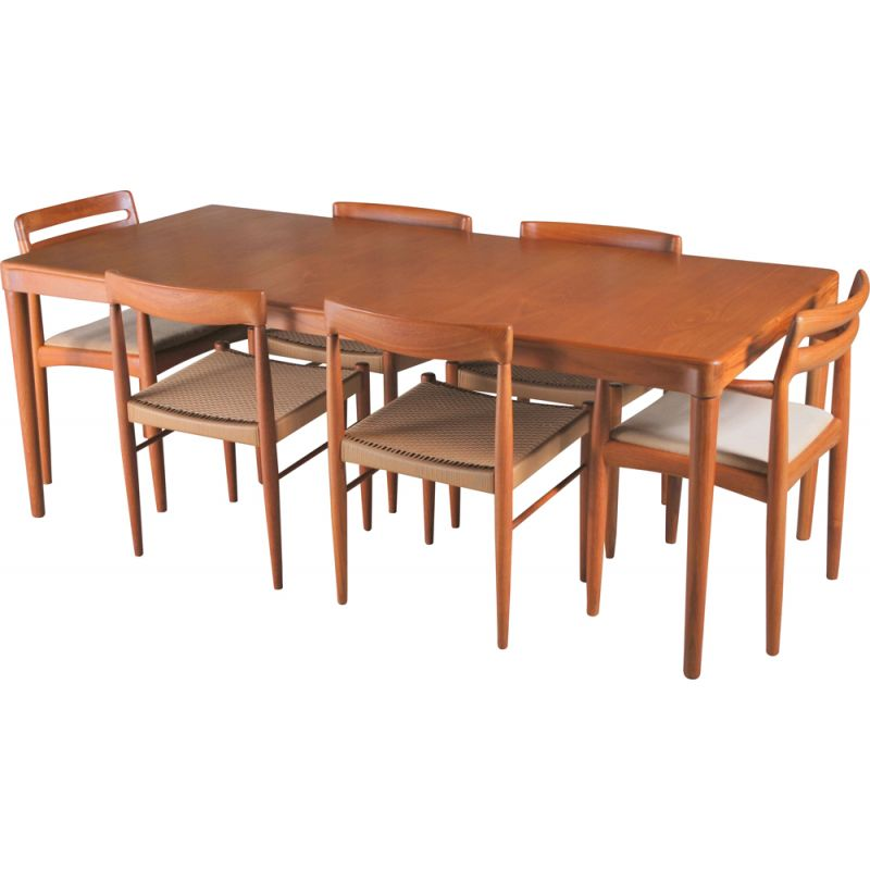 Set of 6 vintage teak chairs and table by H.W. Klein for Bramin 1970