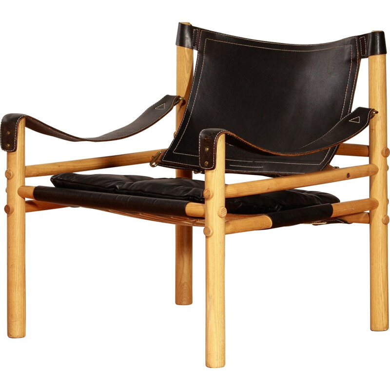 "Aneby ""Sirocco"" armchair in black leather , Arne NORELL - 1960s"
