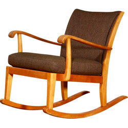Rocking Chair in beech and brown wool - 1950s