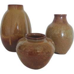 Set of 3 french vases in earthenware - 1970s