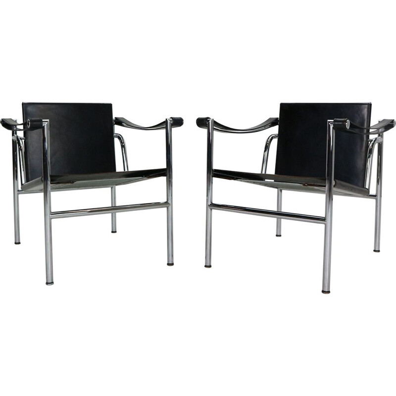 Pair of vintage LC1 black leather armchairs, Le Corbusier for Cassina 1970s