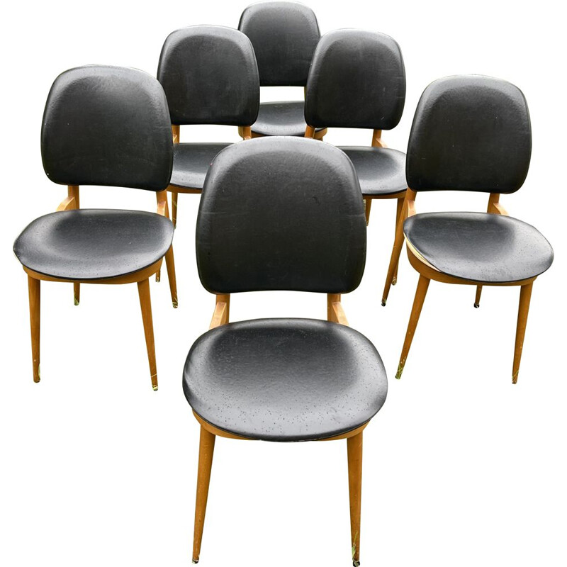 Set of 6 chairs by Pierre Guariche for Le Corbusier