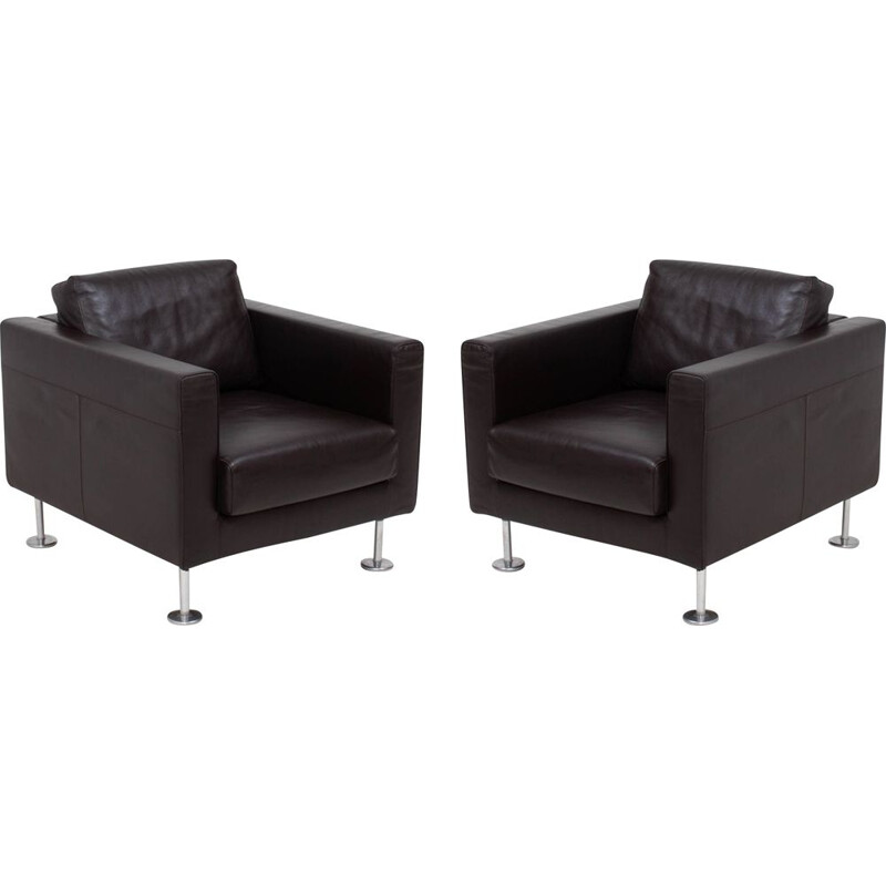 """Pair of vintage """"Park"""" leather armchairs by Jasper Morrison for Vitra 2004"""
