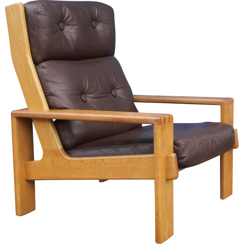 Vintage solid oak and leather armchair by Esko Pajamies for Asko Finland 1970s