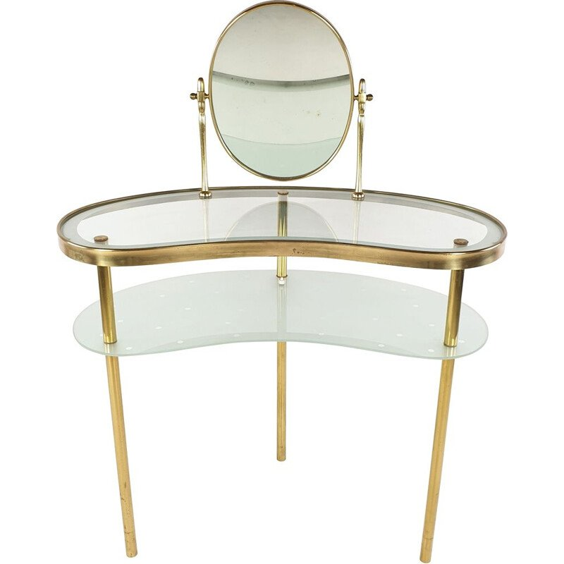 Vintage Dressing Table with Mirror by Luigi Brusotti, Italy, 1940s