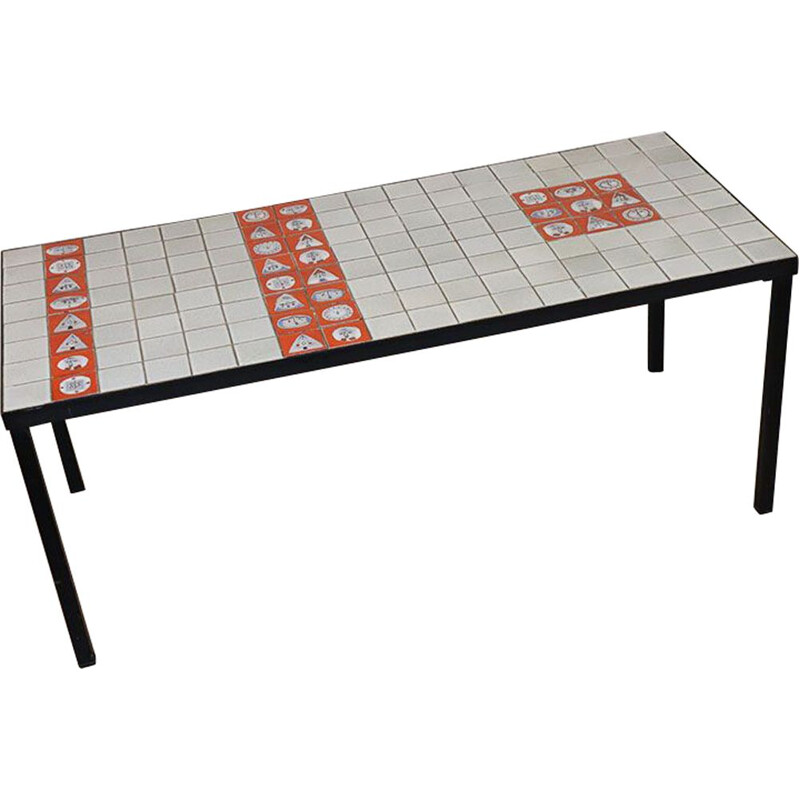 Vintage ceramic coffee table by Roger Capron 1950s