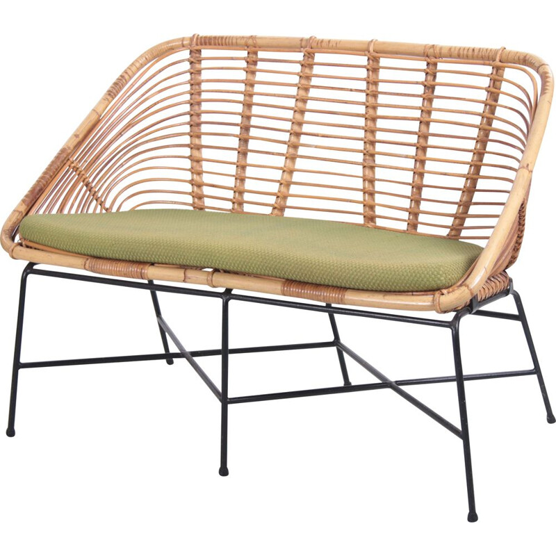 Vintage rattan sofa with lime green cushion 1960s