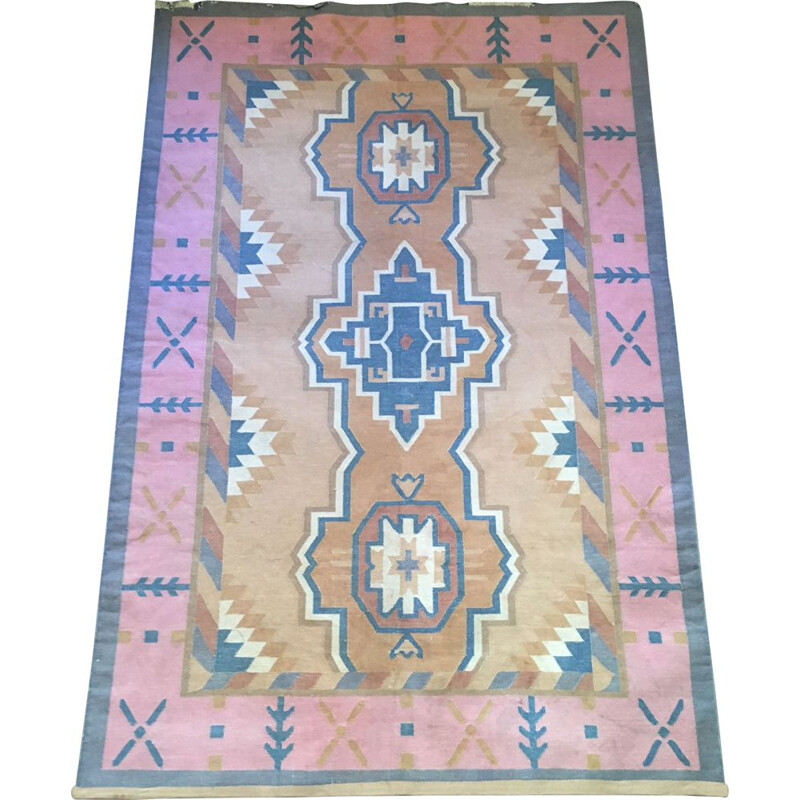 Vintage rug in pure cotton tightly woven