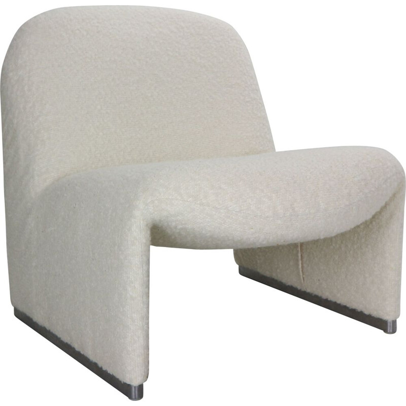 """Vintage """"Alky"""" armchair in off-white curly fabric by Giancarlo Piretti for Castelli 1970s"""