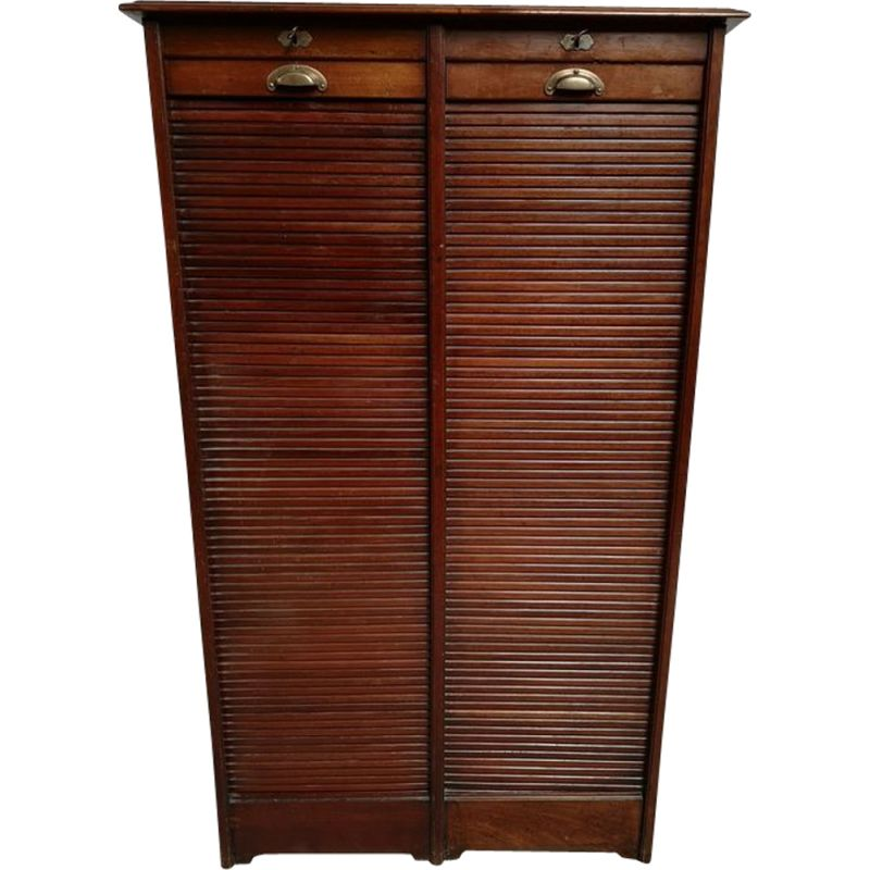 Vintage double mahogany filing cabinet 1940s