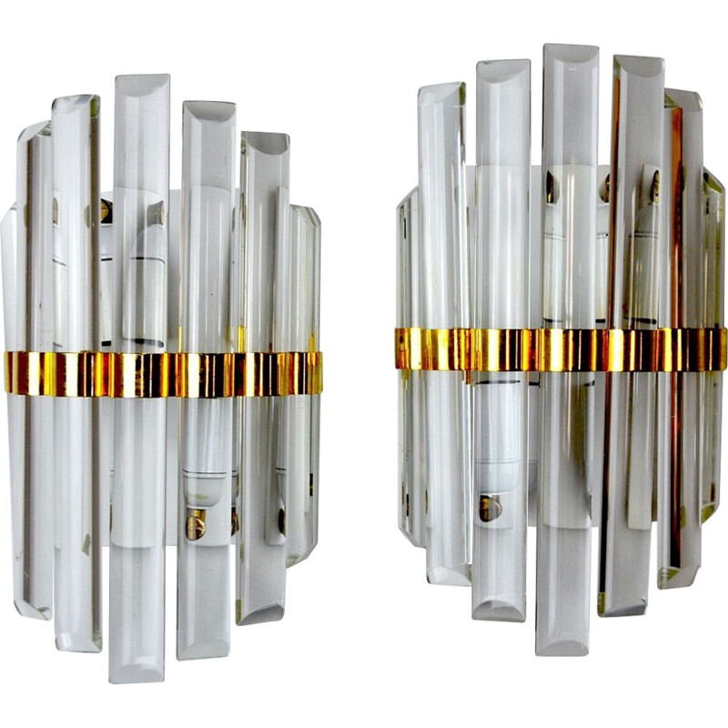 Pair of vintage sconces in !Murano glass Italy 1970s