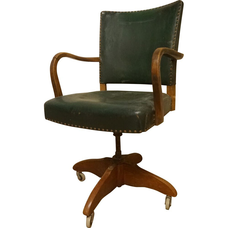 Vintage dark stained beechwood office chair 1930s