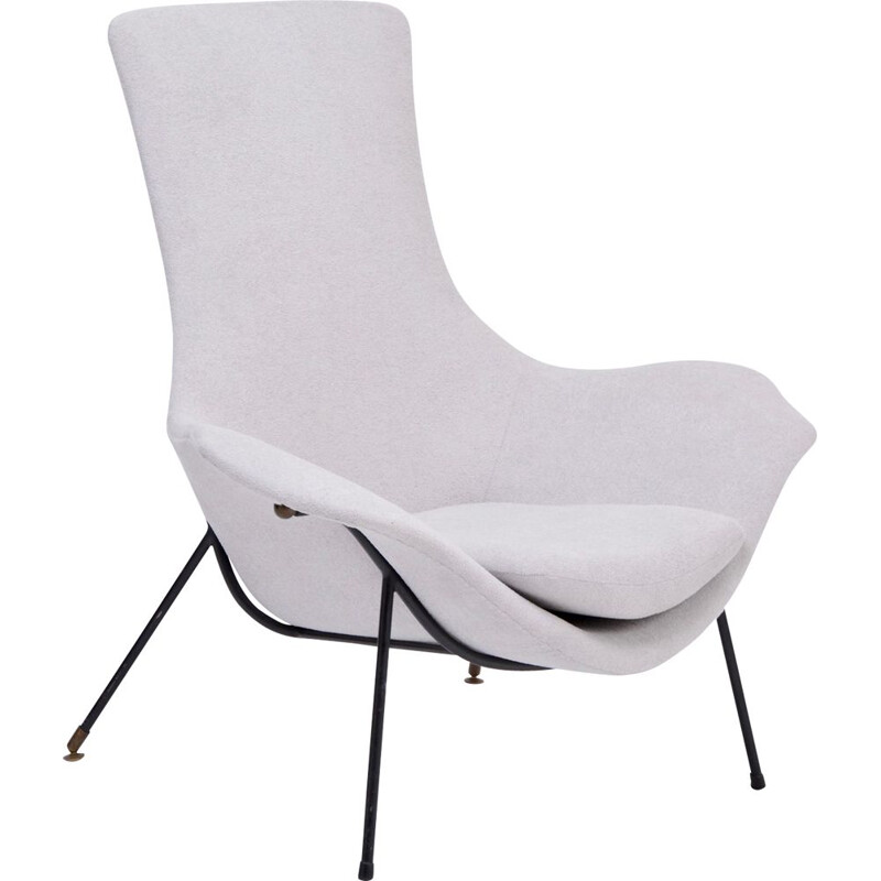 Vintage grey armchair by Augusto Bozzi for Fratelli Saporiti Italy 1950s