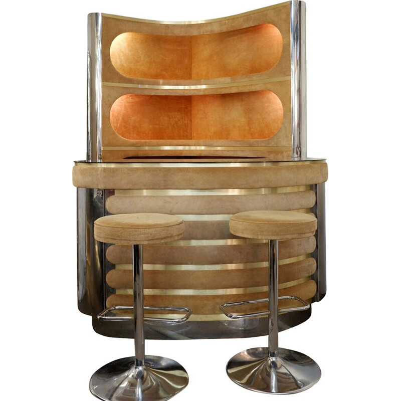 Vintage bar with light storage and 2 stools 1970s