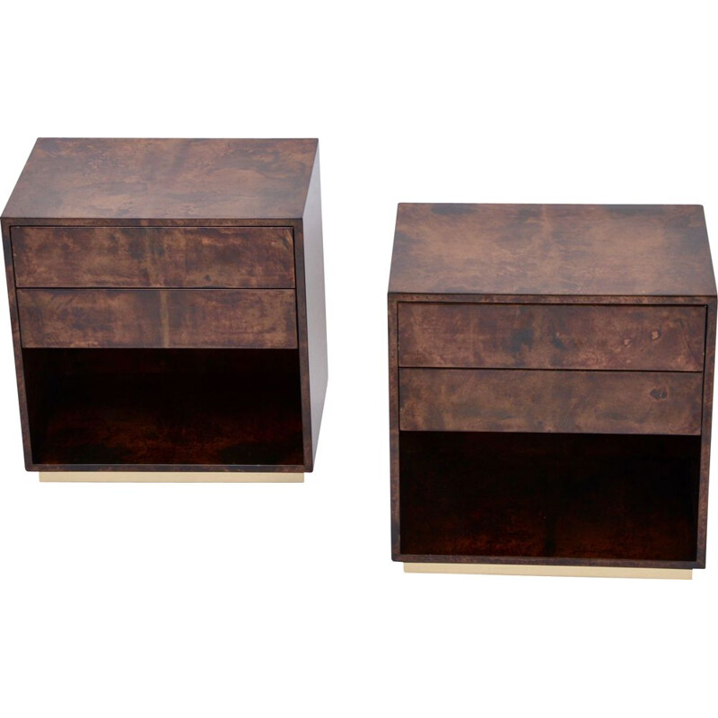 Vintage bedside tables in lacquered goat skin brown by Aldo Tura