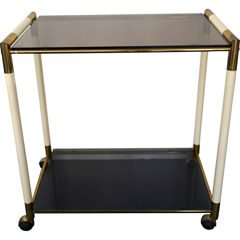 Vintage bar cart with 2 shelves in brass and lacquer by Tommaso Barbi Italy 1970s