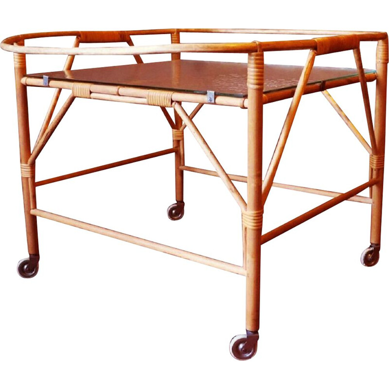 Vintage bamboo and frosted glass serving trolley 1960s