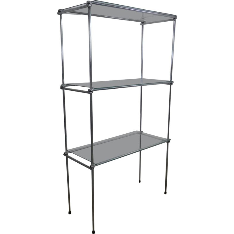 Vintage large shelf with double structure in chromed iron and 8 glass shelves