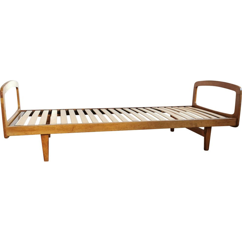 Vintage bed in blond oak by J Hauville for Bema 1959s