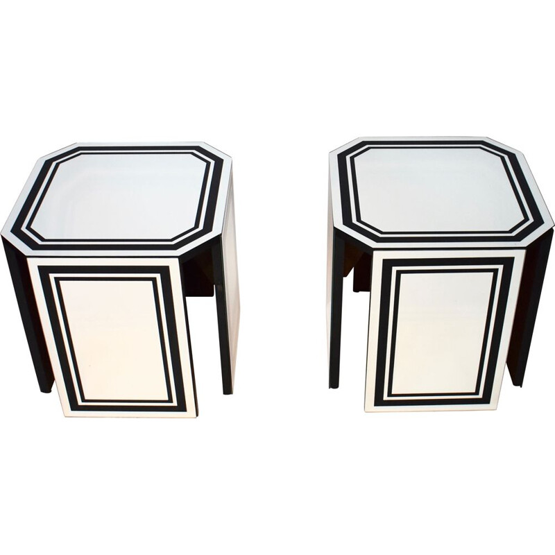 Pair of vintage wooden sofa ends covered with black net mirrors 1970s
