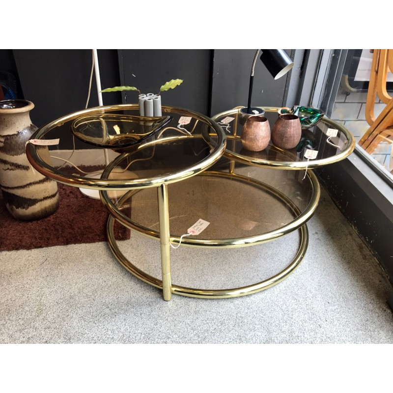 Round Coffee Table With Adjustable Height: Round Adjustable Coffee Table In Brass