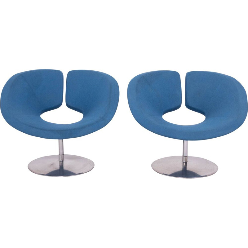 Pair of vintage Apollo Blue armchairs by Patrick Norguet for Artifort 2002s